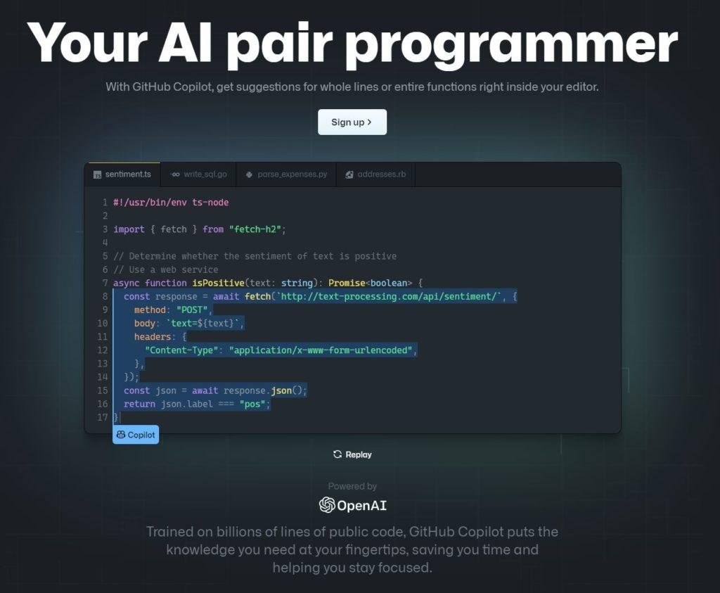 Screenshot of GitHub's Copilot