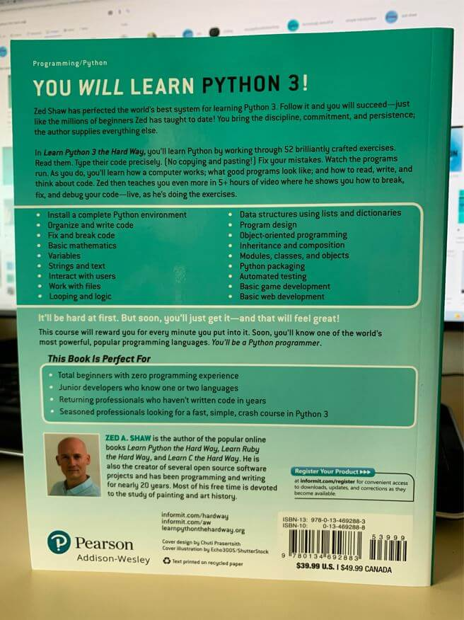 Learn Python 3 the Hard way (back cover)