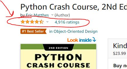 Python Crash Course Amazon Ratings