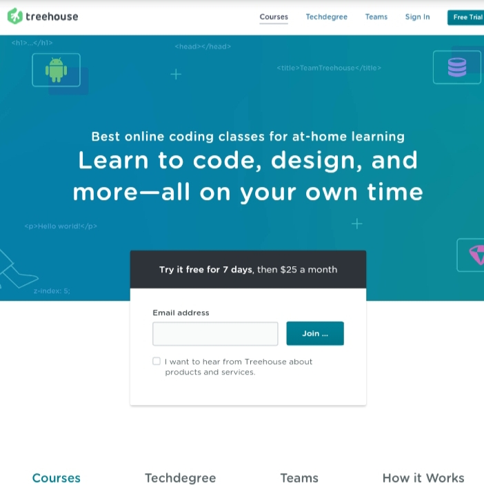 Team Treehouse home page